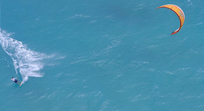 Aerial of Kiteboarder
