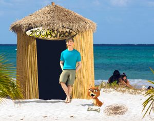 image of zoomshack on beach as interior design headquarters with zoomy and frida outside