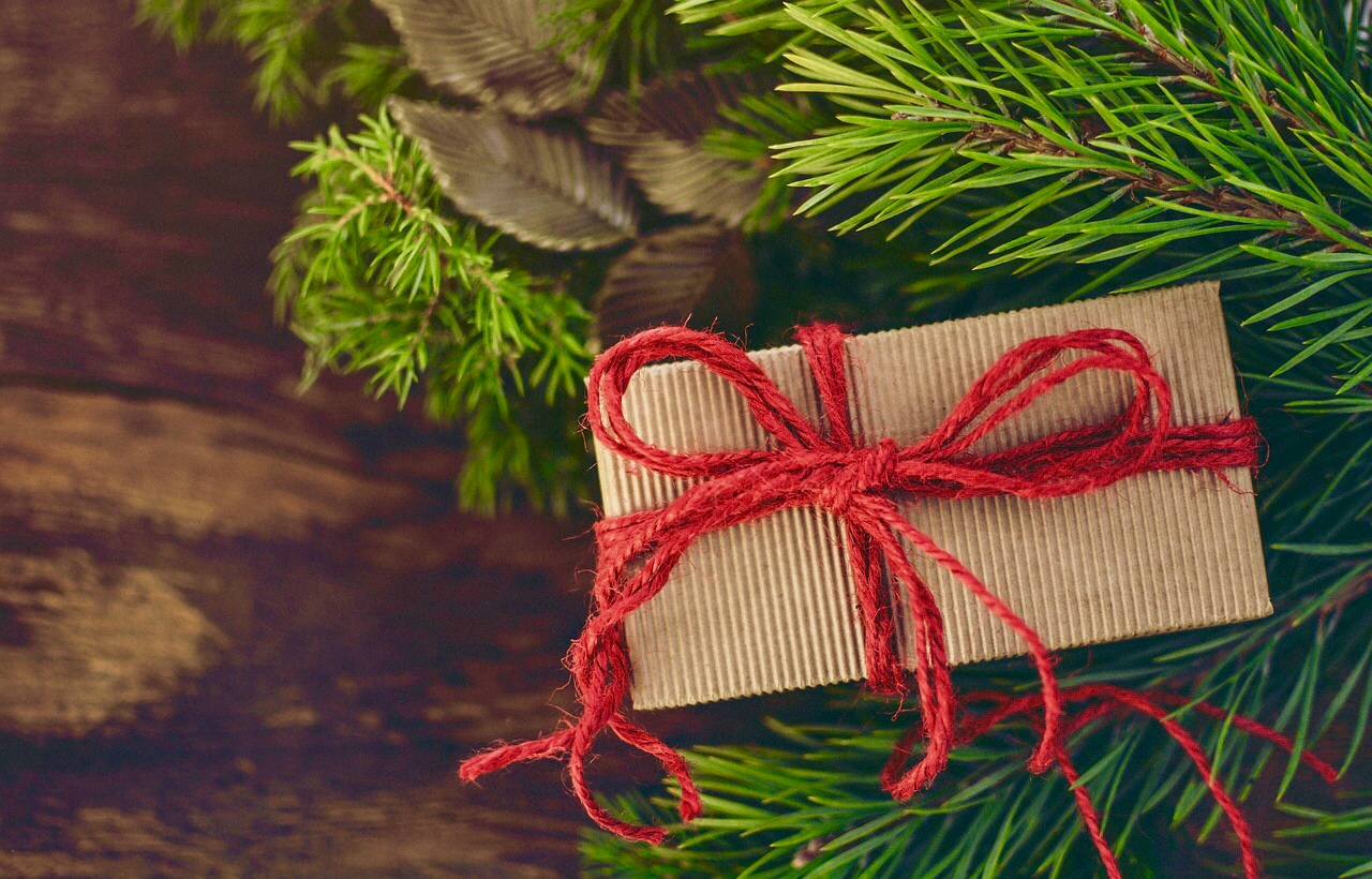 image showing Holistic Home Decorations gift carton with recycled ribbon and paper