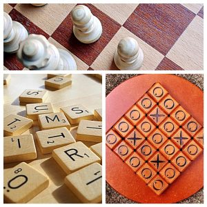 image of a chess board, scrabble pieces and a tik,tak,toe game