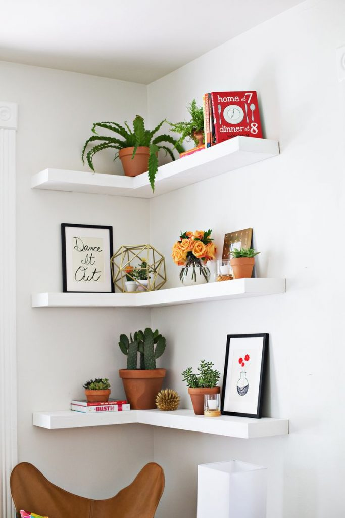 image of corner shelves that attach to walls easily