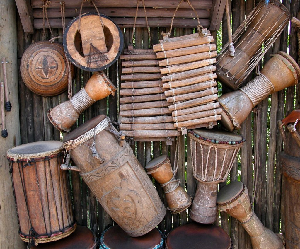 image of many different musical instruments as decorating accessories