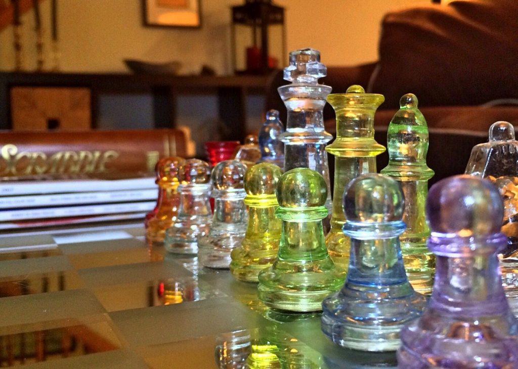 image of stylish chess set that matches interior decor theme