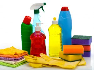 image of traditional chemical laden cleaning supply bottles