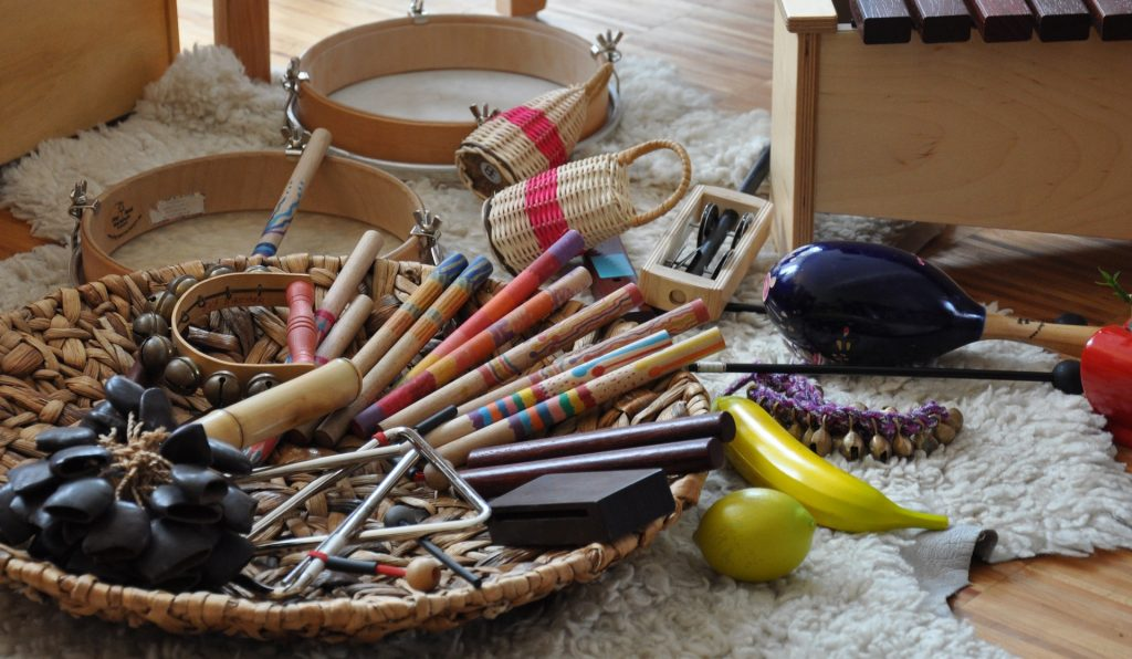 Image of musical instruments as decoration and to create sound