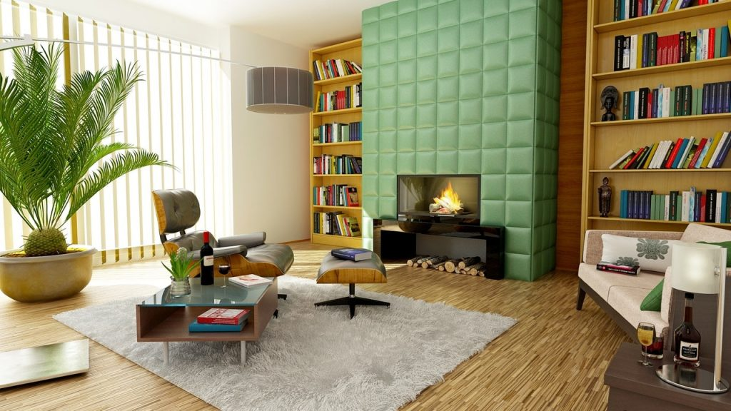 Image of a beautiful living room with books, rugs and surfaces that help control sound levels