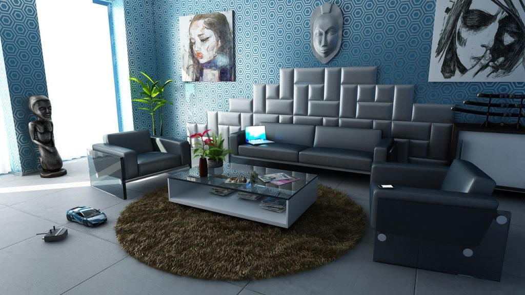 image of family room with dramatic wall decor contrasting with modern furniture