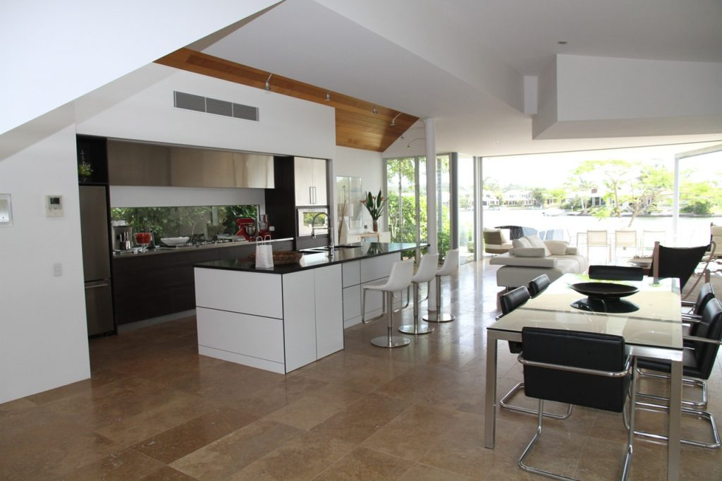 Image of a modern and spacious kitchen that allows sound to travel freely