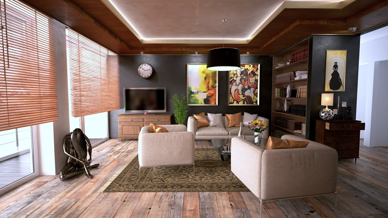 Image of a modern and beautifully decorated living room that reflects sound well