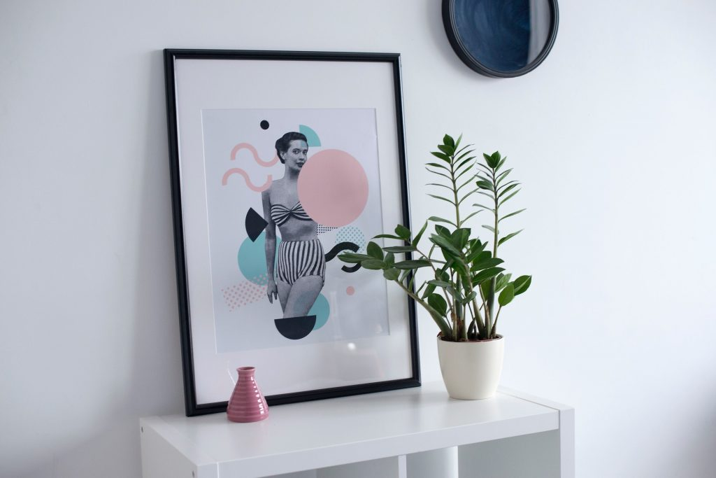 image of houseplant and colorful framed painting as wall decor